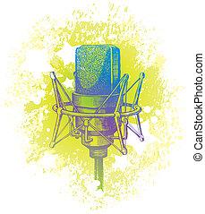 Vector hand drawn studio condenser microphone