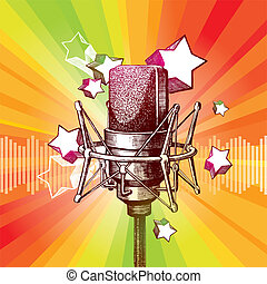 Vector hand drawn studio microphone and stars