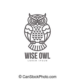 vector hand drawn stylized owl bird icon