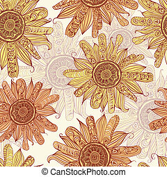 vector hand drawn sunflower seamless pattern
