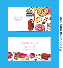 Vector hand drawn sweets or pastry shop business card...