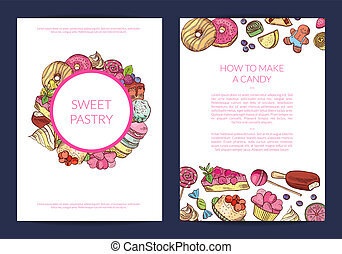 Vector hand drawn sweets, pastry shop or confectionary card...