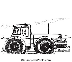 Vector hand drawn tractor isolated on white background. Sketch. Agribusiness