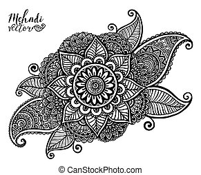 Vector hand drawn tribal element in Indian mehndi style