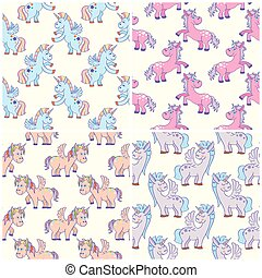 Vector hand drawn unicorns seamless patterns set