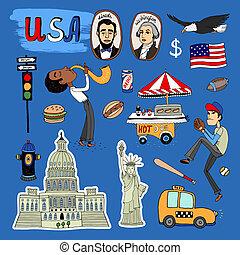 Vector hand-drawn USA Landmarks set - Vector hand-drawn USA...