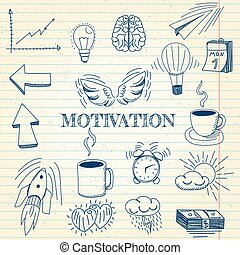 Hand drawn vector illustration set of motivation and buisness sign and symbol doodles elements, notebook background.