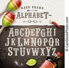 Vector hand drawn vintage alphabet