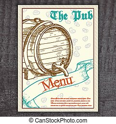 vector hand drawn vintage beer menu with ribbon and barrel