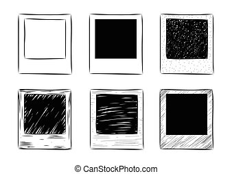 vector hand-drawn vintage photo frame set