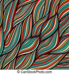 Vector hand-drawn waves texture, wavy background. Backdrop...