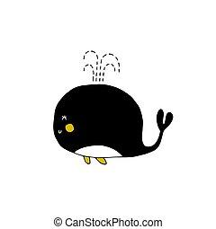 Vector hand drawn whale. Ocean marine world.