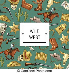 Vector hand drawn wild west cowboy background with place for text illustration
