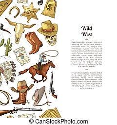 Vector hand drawn wild west cowboy
