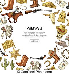 Vector hand drawn wild west cowboy elements background with place for text illustration
