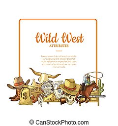 Vector hand drawn wild west cowboy elements below frame with place for text illustration