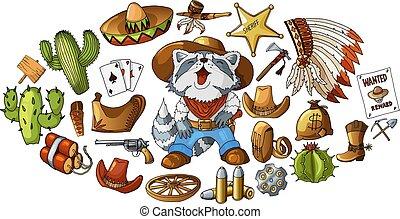 Vector hand drawn wild west cowboy elements stickers set illustration