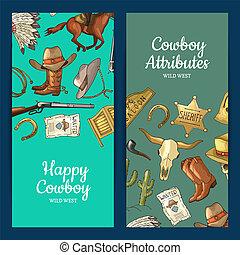 Vector hand drawn wild west cowboy elements web banner