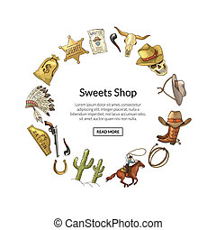 Vector hand drawn wild west cowboy with place for text illustration