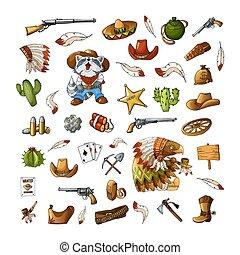 Vector hand drawn wild west indians elements stickers set illustration