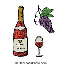 Vector hand drawn wine