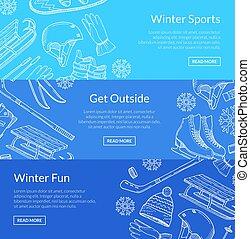 Vector hand drawn winter sports equipment