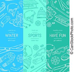 Vector hand drawn winter sports equipment and attributes...