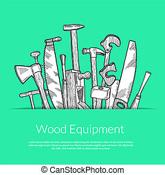 Vector hand drawn woodwork elements in paper pocket with...
