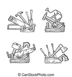 Vector hand drawn woodwork tools set - Vector hand drawn ...
