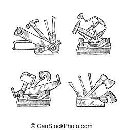 Vector hand drawn woodwork tools set - Vector hand drawn...