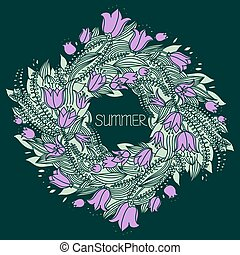 Vector hand drawn wreath with flowers