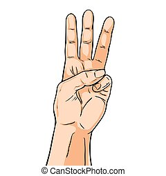 Vector hand. Fingers showing three. Illustration in comic style isolated on white