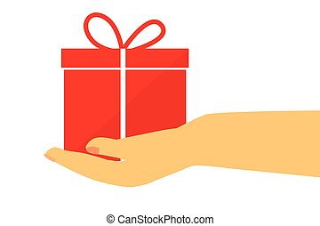 Vector Hand Give a Gift, Isolated on White