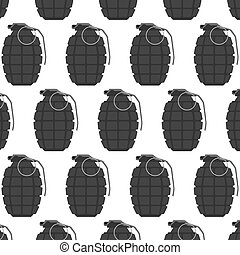 Vector hand grenade seamless pattern, arm weapon. Explosive...