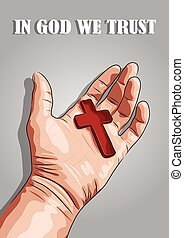 vector hand holding red cross against grey background