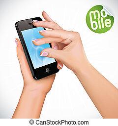 Touchscreen Mobile Phone - Vector Hand Holding Touchscreen ...