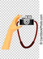 Vector Hand, Holding Vintage Camera at Transparent Effect ...