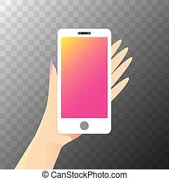 vector Hand holding white smart phone