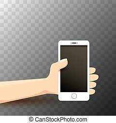 vector Hand holding white smart phone
