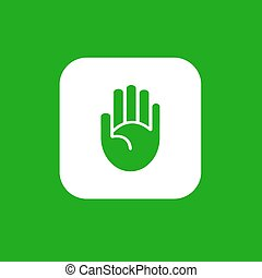 Vector hand icon - Simple hand icon isolated on gree. Yes go...