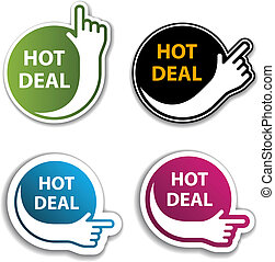 vector hand indicating hot deal stickers
