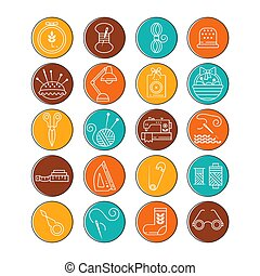 Vector Hand made icons set - symbols or logos of sewing,...