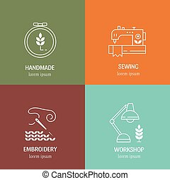 Vector hand made label in outline trendy style . Symbols or...