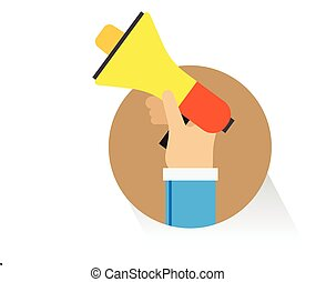 vector hand megaphone promotion on white background