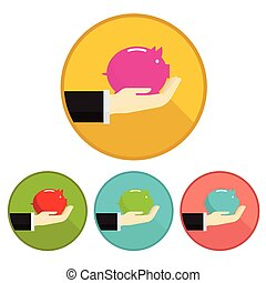vector hand money pig Saving on white background