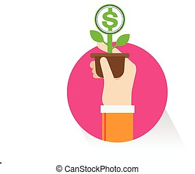 vector hand money Tree on white background