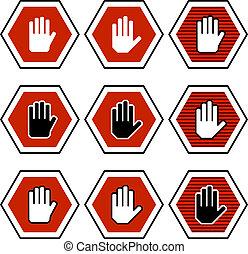 vector hand octagon stop symbols