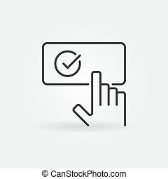 Vector hand on button with checkmark outline icon - Vector...