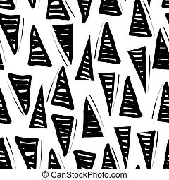 Vector hand-painted seamless pattern with triangle, lines,...