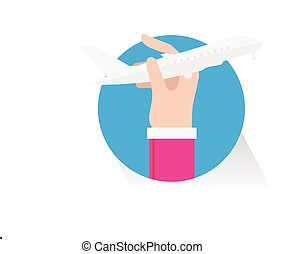 vector hand plane on white background